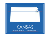 University of Kansas State Map Poster af Lulu