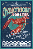 Prince Edward Island - Lobster Vintage Sign Plastic Sign by  Lantern Press
