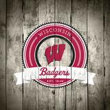 Wisconsin Badgers Logo on Wood Poster af Lulu