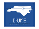 Duke University State Map Plakater af  Lulu