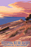 Sleeping Bear Dunes National Lakeshore - Dunes Sunset and Bear Plastic Sign by  Lantern Press