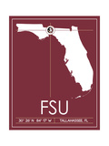 Florida State University State Map Posters by  Lulu