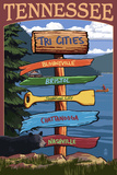 Tennessee - Tri Cities Destination Signpost Plastic Sign by  Lantern Press