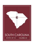 University of South Carolina State Map Premium Giclée-tryk af  Lulu