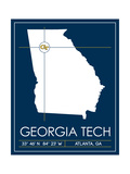 Georgia Tech University State Map Plakater af Lulu