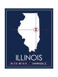University of Illinois State Map Plakater af Lulu