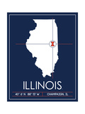 University of Illinois State Map Prints by  Lulu