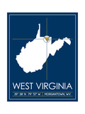 West Virginia University State Map Art by  Lulu