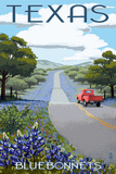 Texas - Bluebonnets and Highway Plastic Sign by  Lantern Press