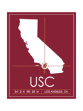 University of Southern California State Map Art by  Lulu
