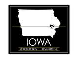 University of Iowa State Map Art by  Lulu