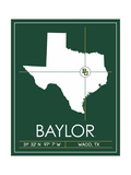 Baylor University State Map Art by  Lulu
