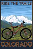 Colorado - Ride the Trails - Mountain Bike Plastic Sign by  Lantern Press