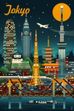 Lantern Press - Tokyo, Japan - Retro Skyline - Plastik Tabelalar