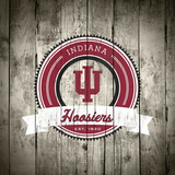 Indiana Hoosiers Logo on Wood Print by  Lulu