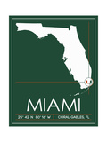 University of Miami State Map Prints by  Lulu