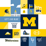 Michigan Wolverines Collage Plakaty autor Lulu