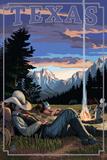 Texas - Cowboy Camping Night Scene Plastic Sign by  Lantern Press