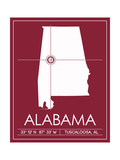 University of Alabama State Map Poster af  Lulu