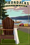Adirondack Mountains, New York - Piseco Lake Adirondack Chair Plastic Sign by  Lantern Press