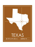 University of Texas State Map Prints by  Lulu
