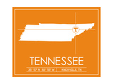 University of Tennessee State Map Prints by  Lulu