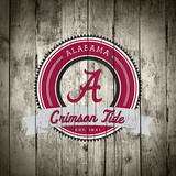 Alabama Crimson Tide Logo on Wood Poster by  Lulu