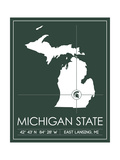 Michigan State University State Map Prints by  Lulu