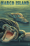 Marco Island - Alligators Wall Mural by  Lantern Press