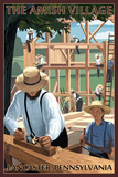 Lancaster County, Pennsylvania - the Amish Village - Barn Raising Scene Plastic Sign by  Lantern Press
