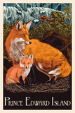 Prince Edward Island - Fox and Kit Letterpress Plastic Sign by  Lantern Press