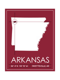University of Arkansas State Map Prints by  Lulu