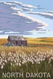 Nouth Dakota - Wheat Field and Shack Plastic Sign by  Lantern Press