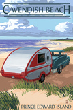 Prince Edward Island - Cavendish Beach and Camper Plastic Sign by  Lantern Press