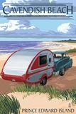 Prince Edward Island - Cavendish Beach and Camper Plastic Sign by  Lantern Press