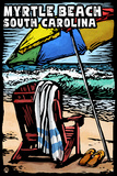 Myrtle Beach, South Carolina - Beach Chair - Scratchboard Plastic Sign by  Lantern Press