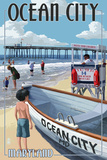 Ocean City, Maryland - Lifeguard Stand Plastic Sign by  Lantern Press