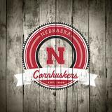 Nebraska Cornhuskers Logo on Wood Plakater av  Lulu