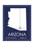 University of Arizona State Map Prints by  Lulu