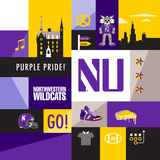 Northwestern Wildcats Collage Posters by  Lulu