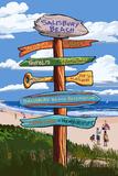Salisbury Beach, Massachusetts - Signpost Destinations Plastic Sign by  Lantern Press