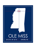 Ole Miss State Map Posters by  Lulu