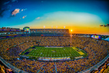 LSU: Sunset at Tiger Stadium Fotografisk tryk