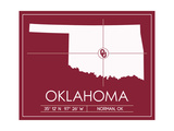 University of Oklahoma State Map Prints by  Lulu