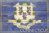 Connecticut State Flag - Barnwood Painting Plastic Sign by  Lantern Press