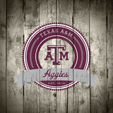 Texas A&M Aggies Logo on Wood Print by  Lulu