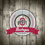 Ohio State Buckeyes Logo on Wood Plakaty autor Lulu