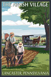 Lancaster County, Pennsylvania - Farm Scene - Barn Raising Scene Plastic Sign by  Lantern Press