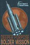 SLS Rocket and Mars Plastic Sign by  Lantern Press