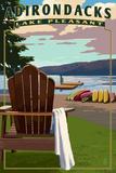 Adirondack Mountains, New York - Lake Pleasant Adirondack Chair Plastic Sign by  Lantern Press